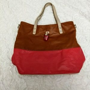 Jessica Simpson coral and brown large tote bag